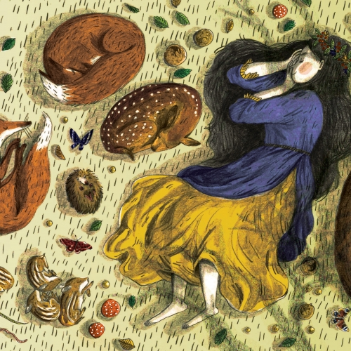Illustration of girl and woodland animals curled up and sleeping among leaves and toadstools.