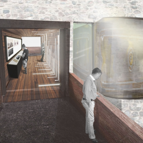 Mock up of interior with wooden floors and brick walls and people looking at things.