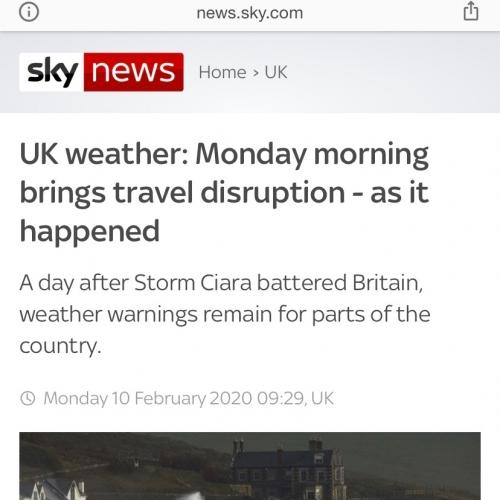 Sky news coverage