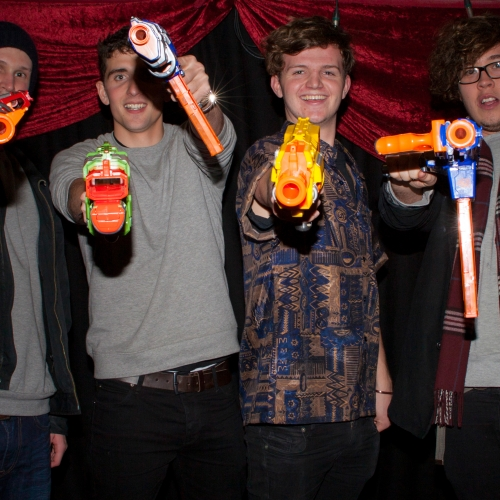 Guests holding plastic guns at Immersive Zombie Experience