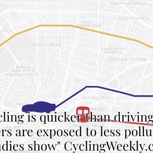 A city map with an image of a bike and car