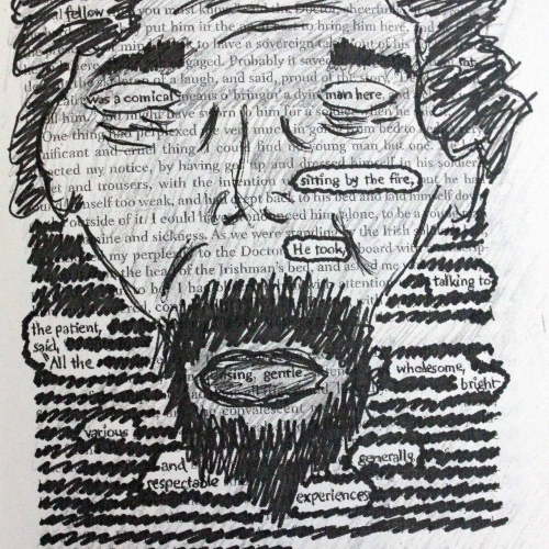 Drawing over a page in a book of mans bearded face, words scribbled out and highlighted.