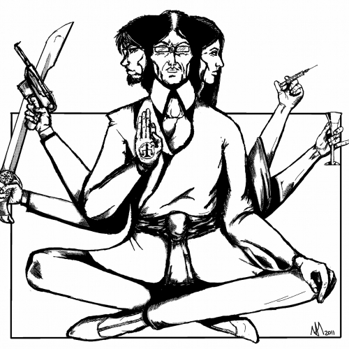 Illustration of 3 figures holding syringe, gun, sword and wine glass and holding a hand up with peace symbol.