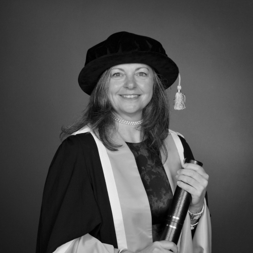 Falmouth fellow Daphne Skinnard in academic gown.