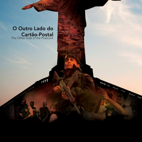 Christ the redeemer statue in a  film poster and military men with guns.