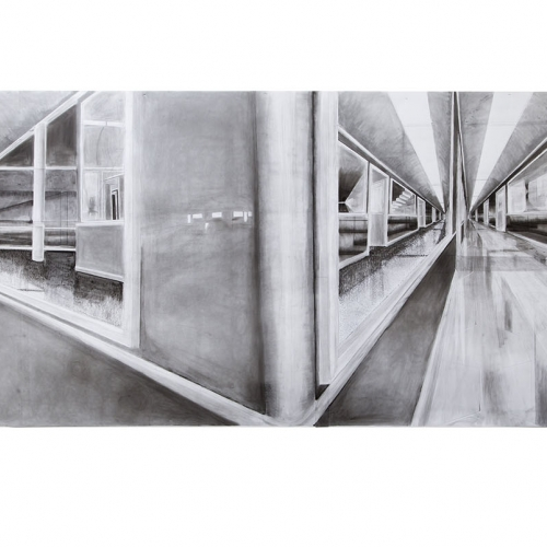 Pencil drawing of glass corridor