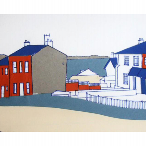 Artwork of houses next to the sea in block colours of red, blue and grey.