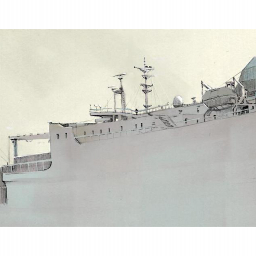 Drawing of section of large grey ship.