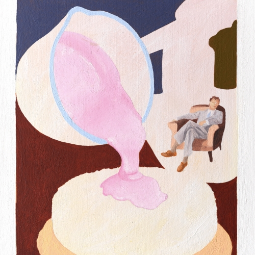 A painting of a man in an armchair with a giant tea cup