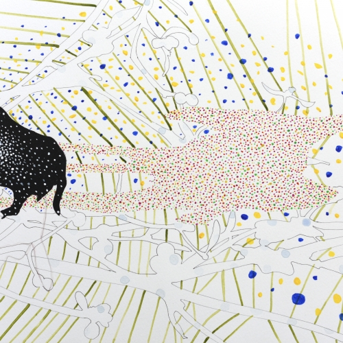 A painting of a black animal with dots