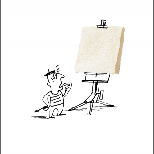 Tofu advert of a blank canvas on an easel