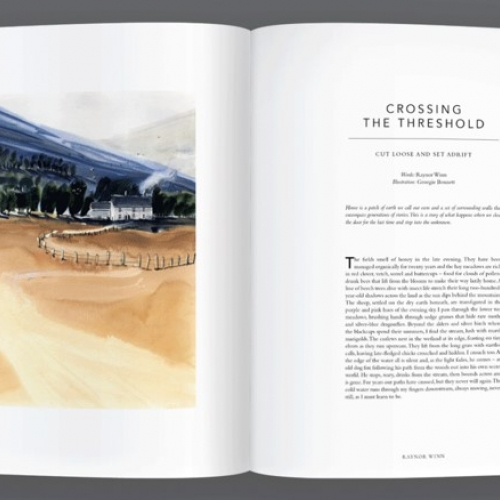 Inside spread with an illustration of fields and cottage