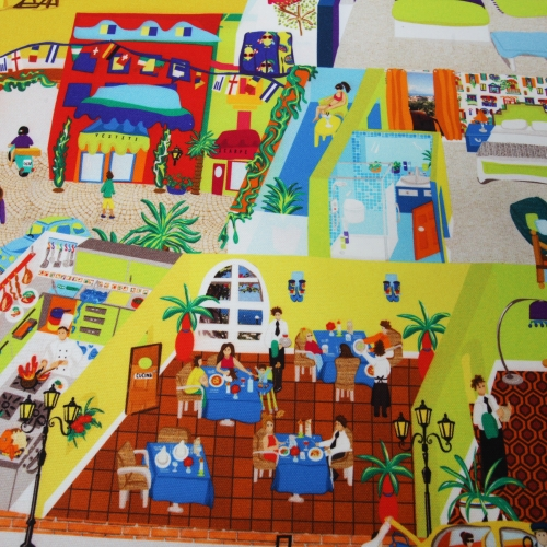 Brightly coloured illustrated fabric design of streets and interiors.
