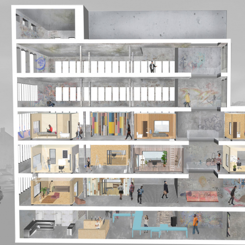Digital artwork cross section of a building design with multiple floors