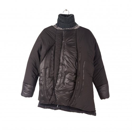 Black padded jacket with funnel neck.