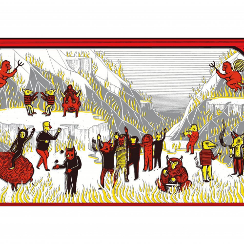 Folklore style illustration, creatures and fire in red, black and yello