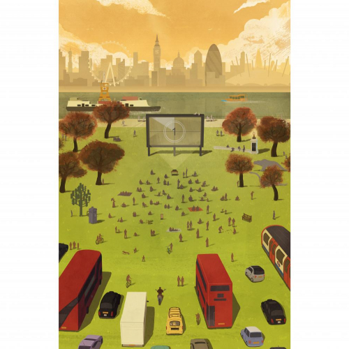 Illustration of a park with people, trees and a cinema screen, with the London cityscape in the background