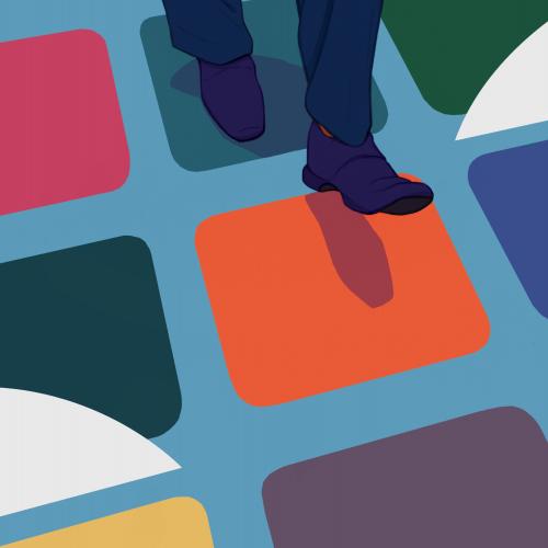 Illustration of feet walking on coloured tiled floor.