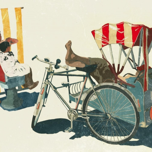 Illustration of barber cutting hair in front of yellow striped background. Man sleeping in bicycle trailer, feet in the air.