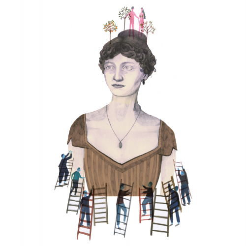 Illustration of woman with small men and ladders around her torso.