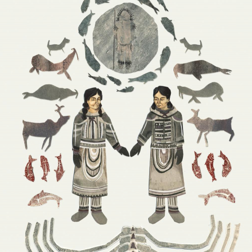 Illustration of two inuits holding hands with animals and fish surrounding them.