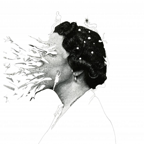 Detailed illustration of woman her face disappearing into the air in front of her and small people crawling on her head.