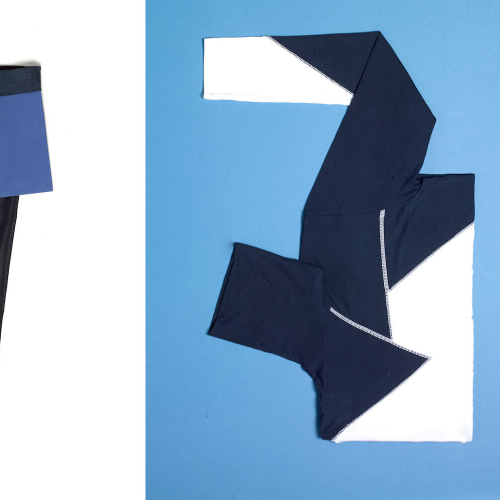 Blue and white block colour clothes folded