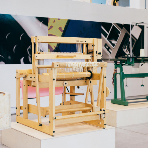 Looms on display in Falmouth University Fashion studio