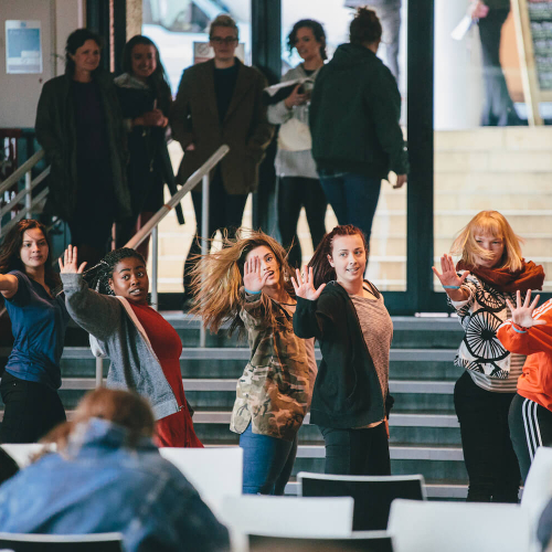 Falmouth student dancers at Flash Mob in the Stannary canteen on Penryn Campus