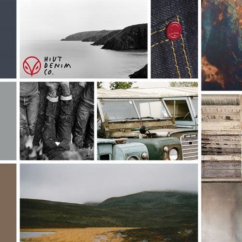 Collage squares of denim, landrovers, sea and cliffs, rural landscape.