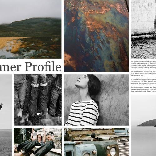 Collage squares, girl in striped t-shirt, rugged man, land rovers, rural scene.