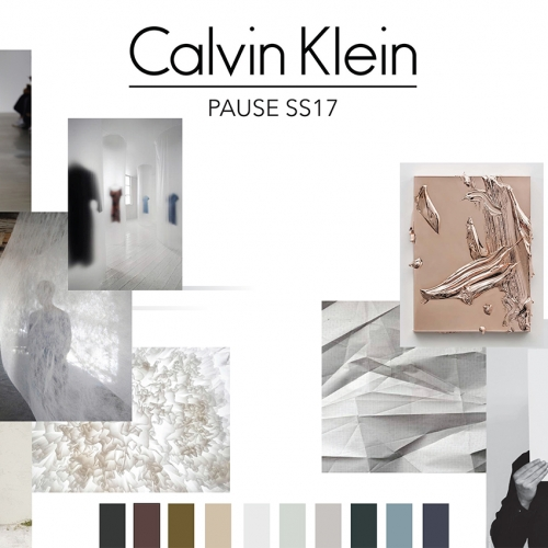 Calvin Klein mood board, muted pastel colours and white satin dress on model.