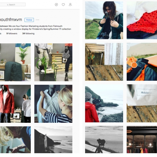 Instagram feed of students creating window display for Finisterre.