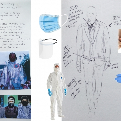 Spread of fashion designs with gloves