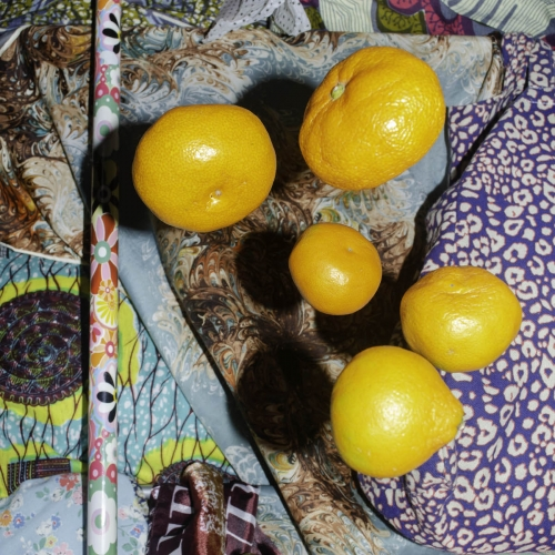 Still life photograph with oranges