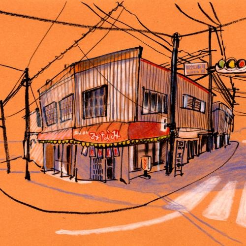 Illustration of a street corner with Japanese shop