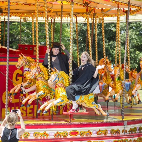 Students on the carousel