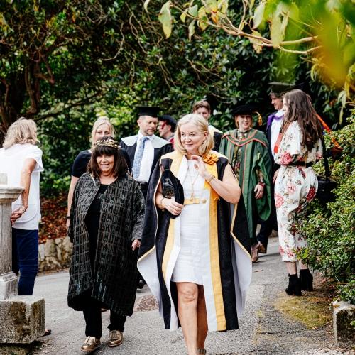 Falmouth University Chancellor Dawn French and Vice Chancellor Anne Carlisle at Graduation 2019
