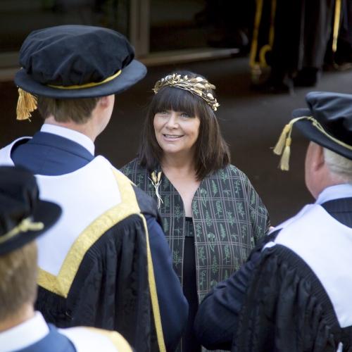 Falmouth University Chancellor Dawn French at Graduation 2019 wearing Mirri Damer crown and brooch