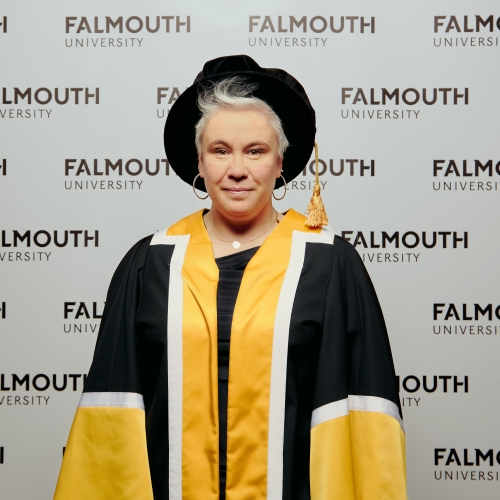 Falmouth honorary fellow Emma Rice in academic gown.
