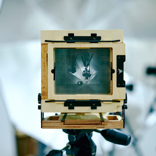 A large format camera viewfinder.