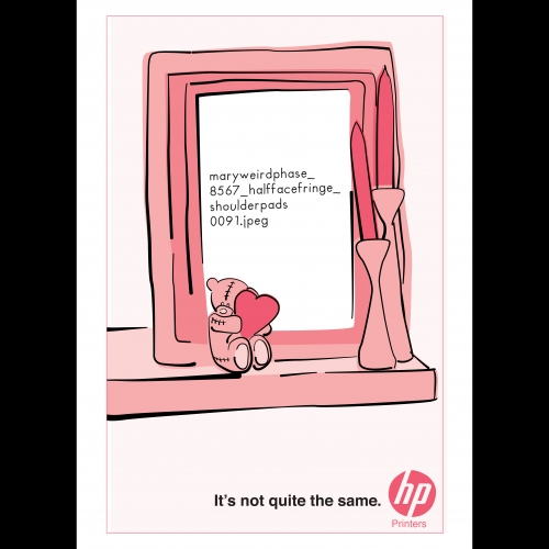 Advert for Hewlett Packard of a picture frame with a file name instead of a photo.