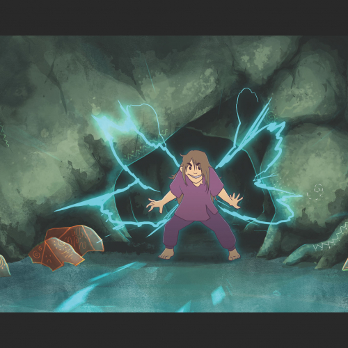 Animation still of character in cave with abstract luminous lights