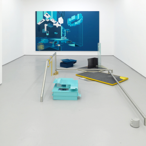 Photograph of a gallery space with a blue canvas on the wall and metal banisters