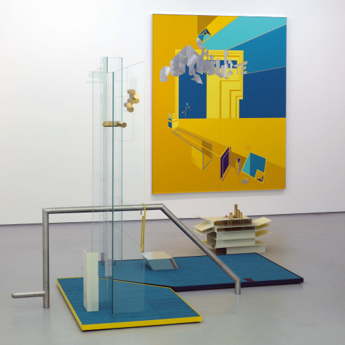 Photograph of a gallery space with a yellow canvas on the wall and metal banisters