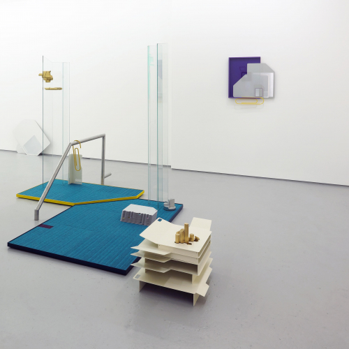 Photograph of a gallery space with blue installation