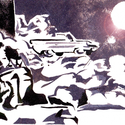 Duotone illustrated print of car and moon in landscape.