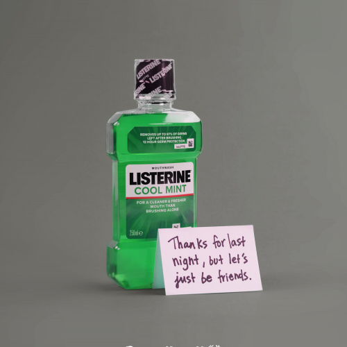A listerine bottle with a note on it