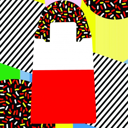 Pop art illustration of Fab style lolly.