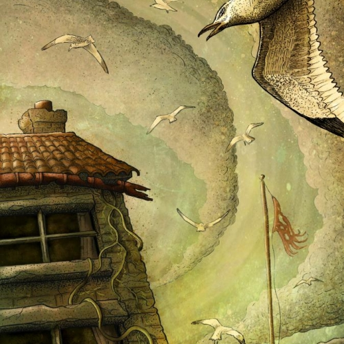 Illustration of seagulls flying around a house.